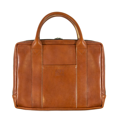 Slim Briefcase | Horween Imperial Cognac Leather | 'DEFY CLUTTER' | Last 1