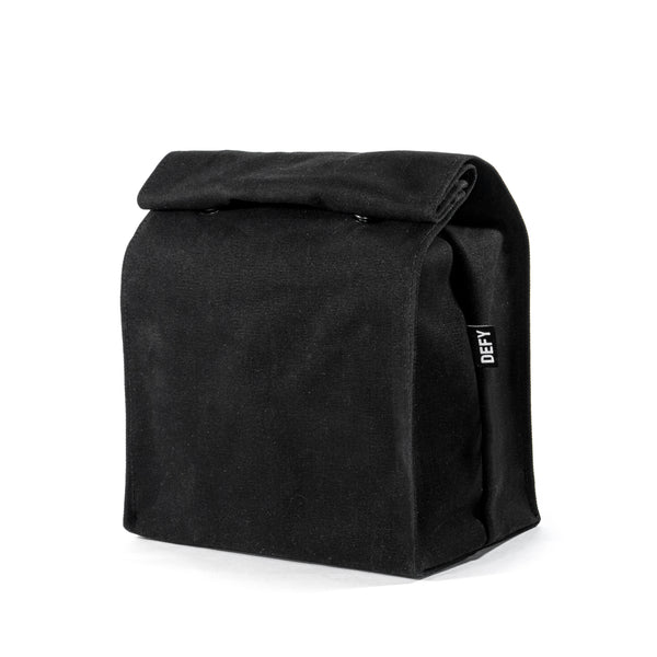 Lunch Bag | Black Wax Canvas | Horween OxBlood Leather