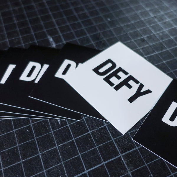 Big Black on White DEFY Sticker