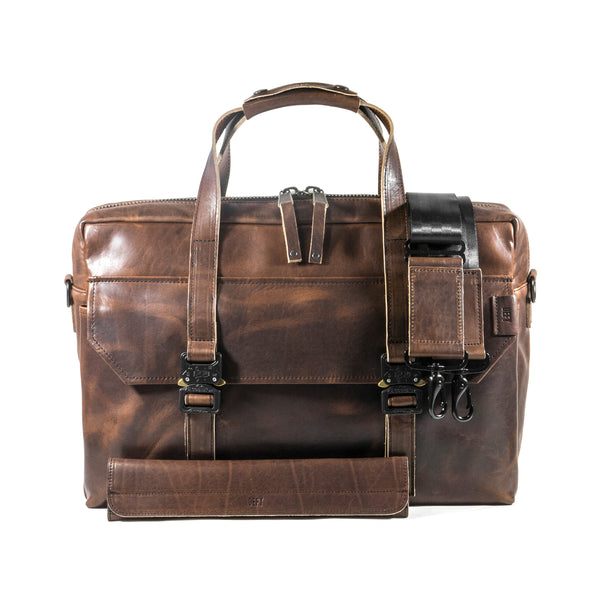 Defender Briefcase | Horween Brown Nut Dublin Leather Bundle | Includes Schlep