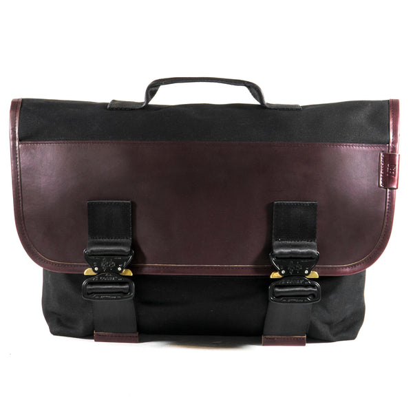 Recon | Black Wax Canvas + Horween OxBlood Leather