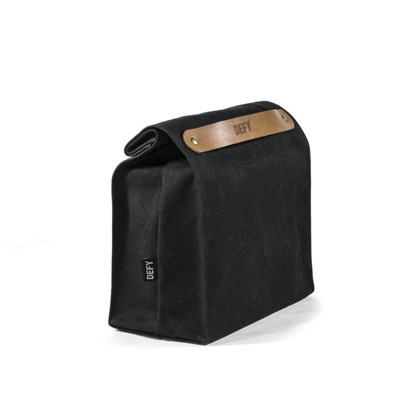 Lunch Bag | Black Wax Canvas | Horween Rio Latigo Leather
