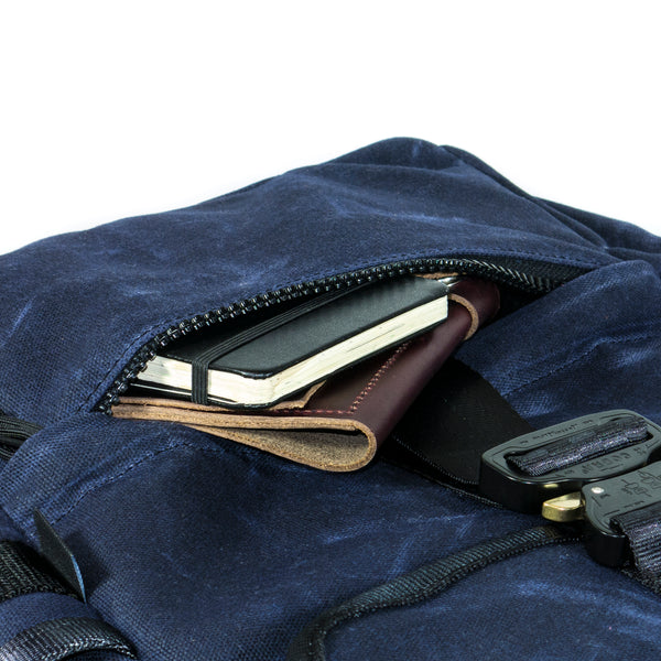 The Menace Backpack | Navy Waxed Canvas