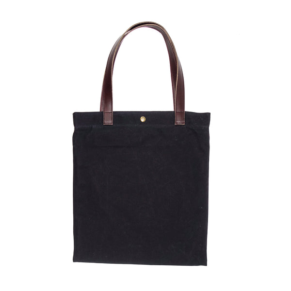 Batch Tote | Horween OxBlood Leather | Black Wax Canvas