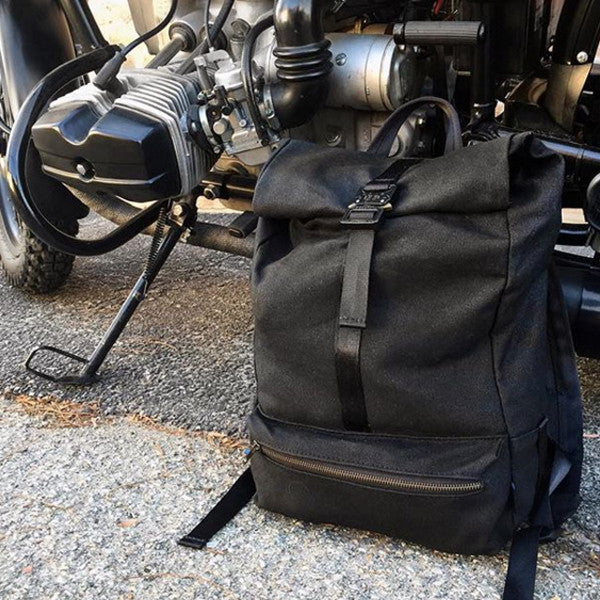 Theodore Rolltop Backpack | Black Wax Canvas