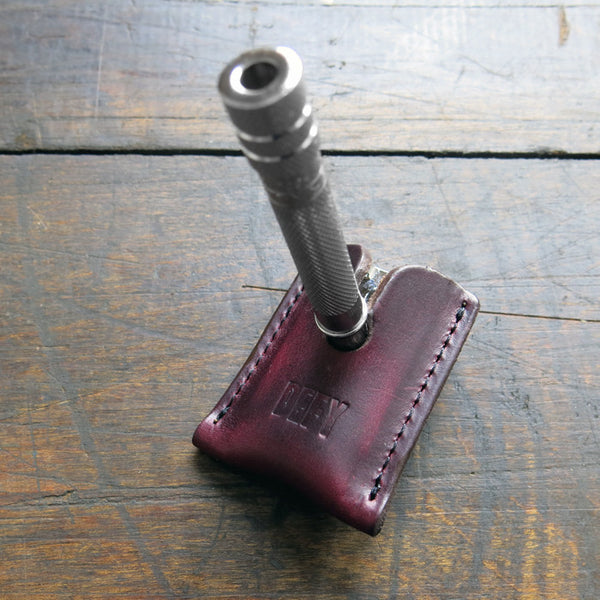 Stache | Horween Oxblood Leather | Safety Razor Sheath