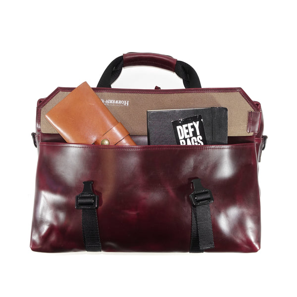 Defender Briefcase | Horween OxBlood Leather MIL-SPEC Webbing Edition