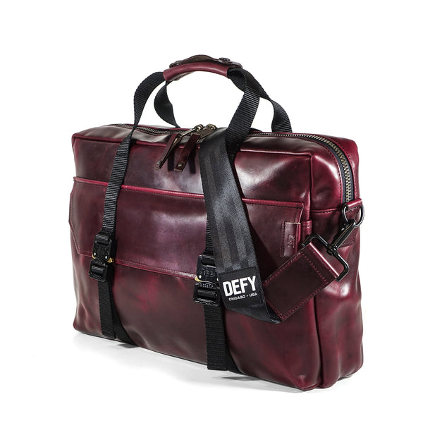 Defender Briefcase | Horween OxBlood Leather MIL-SPEC Webbing Edition | Limited Qty