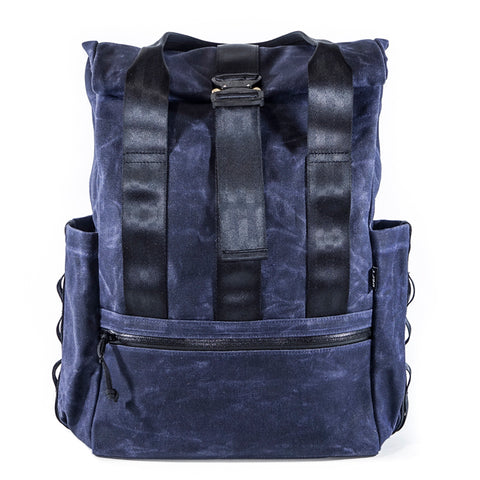 VerBockel Rolltop Backpack 2.0 'Un-Zipped' | Navy Wax Canvas