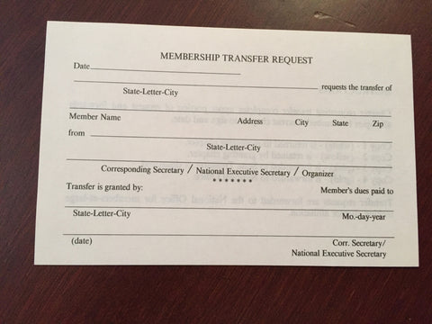 Membership Transfer Request Form  National TTT Society