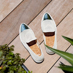 Jibs Slim Soft White + Silver Slip On Sneaker Patio Style
