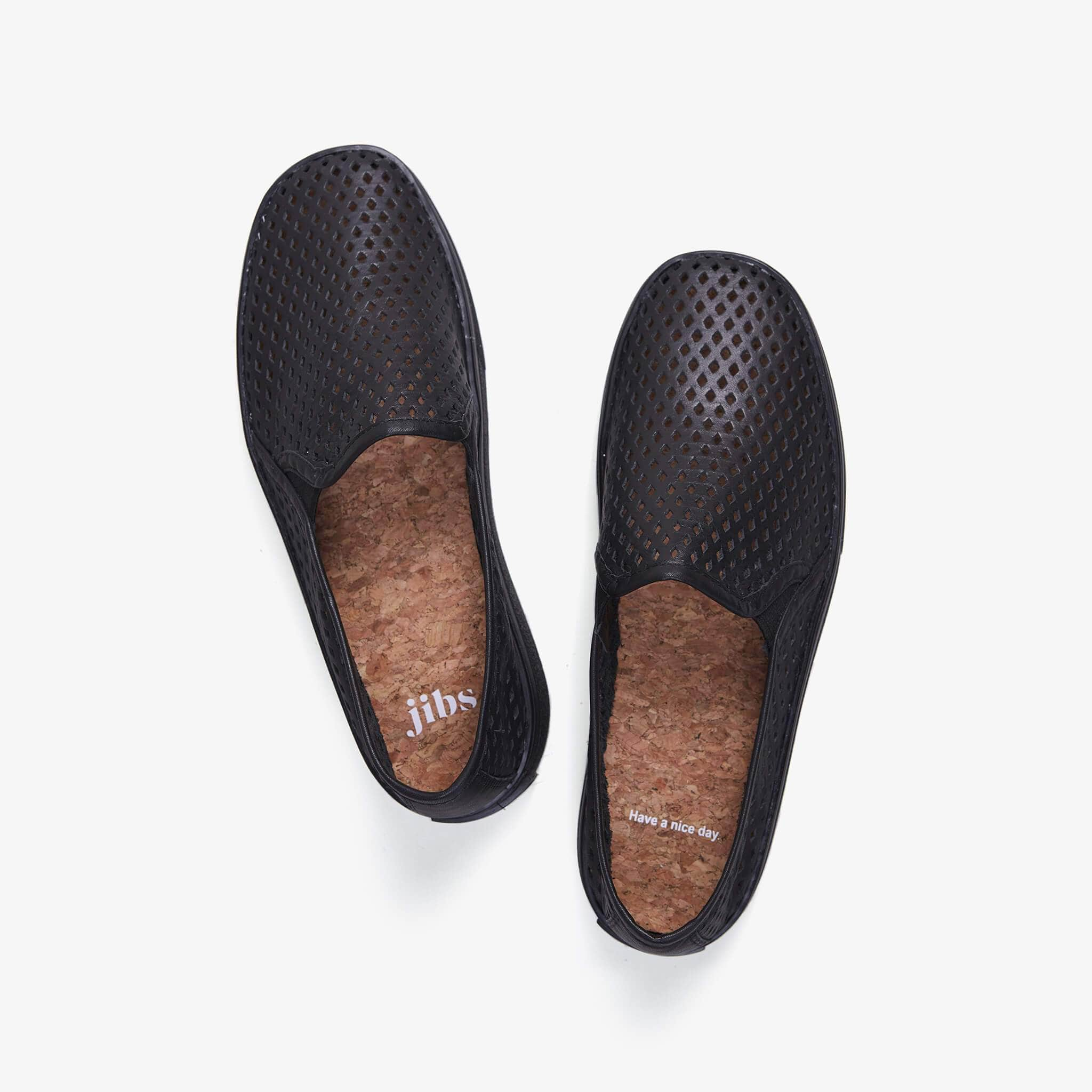 Jibs Classic Jet Black Royale Slip On Sneaker-Shoe Have A Nice Day Cork In-sole