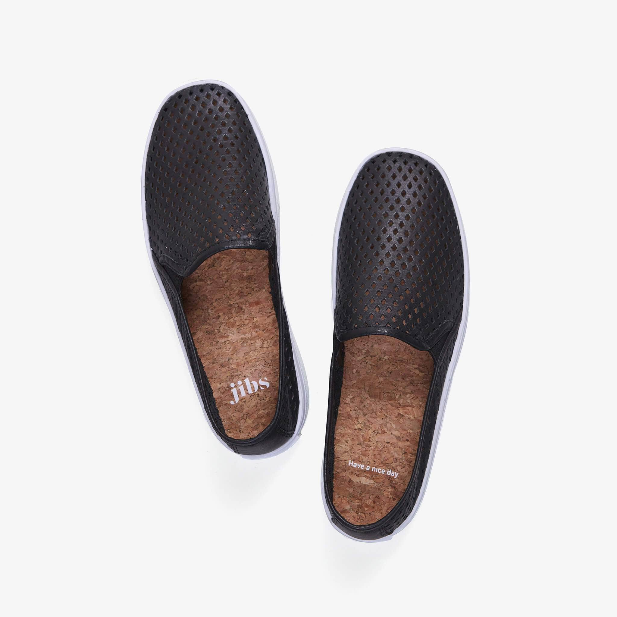 Jibs Classic Jet Black Slip On Sneaker-Shoe Top Have A Nice Day Cork In-sole