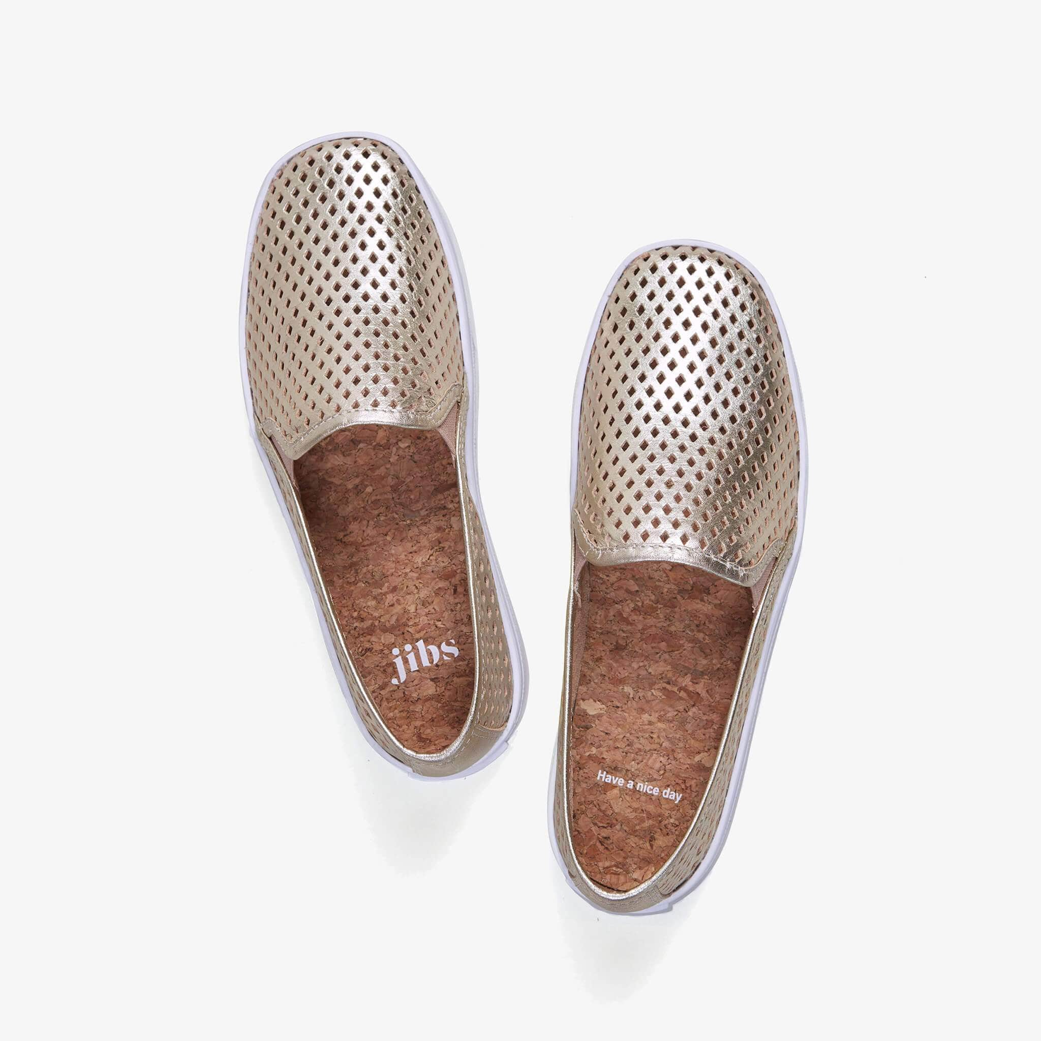Jibs Classic Gold Slip On Sneaker-Shoe Have A Nice Day Cork In-sole