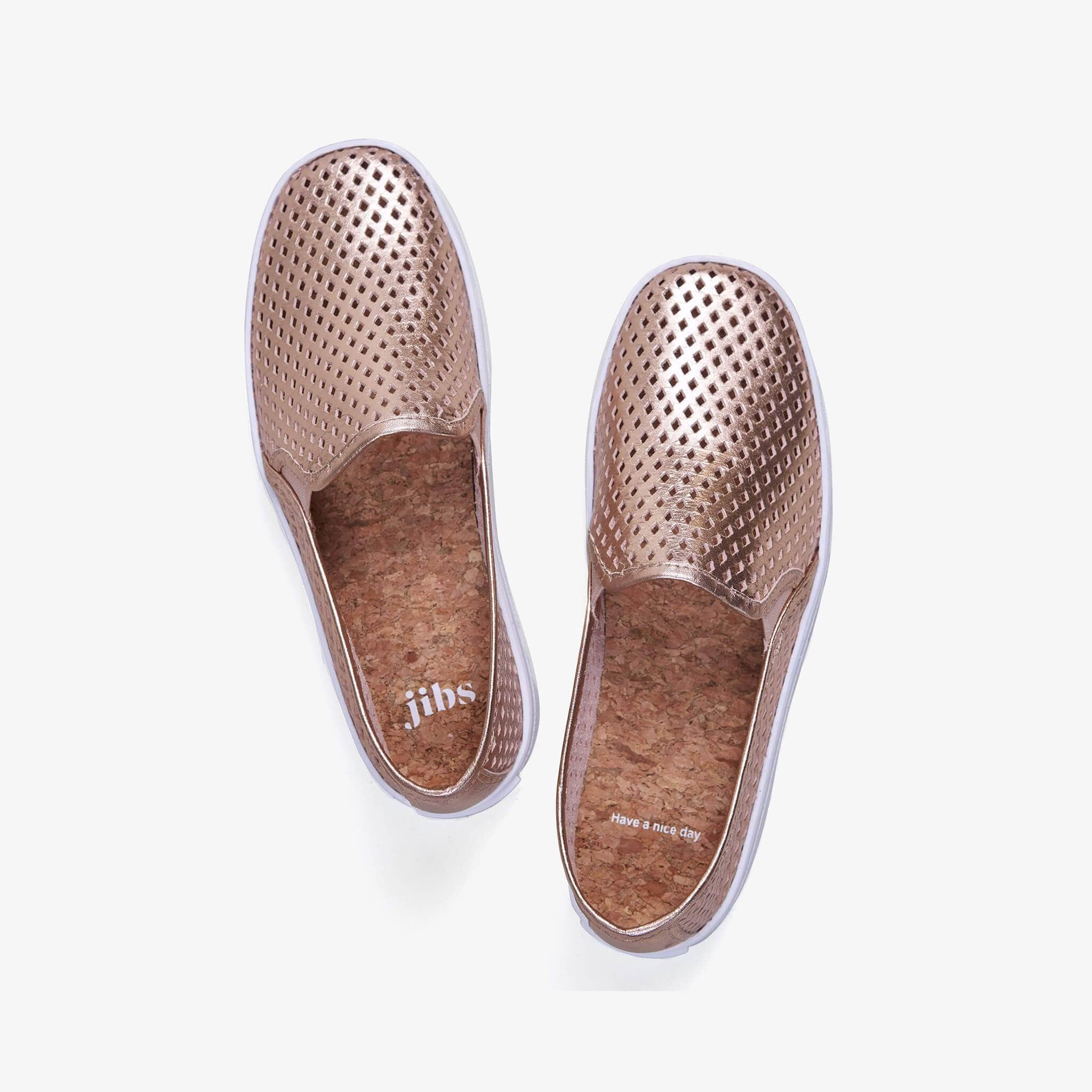 Jibs Classic Rose Gold Slip On Sneaker-Shoe Have A Nice Day Cork In-sole