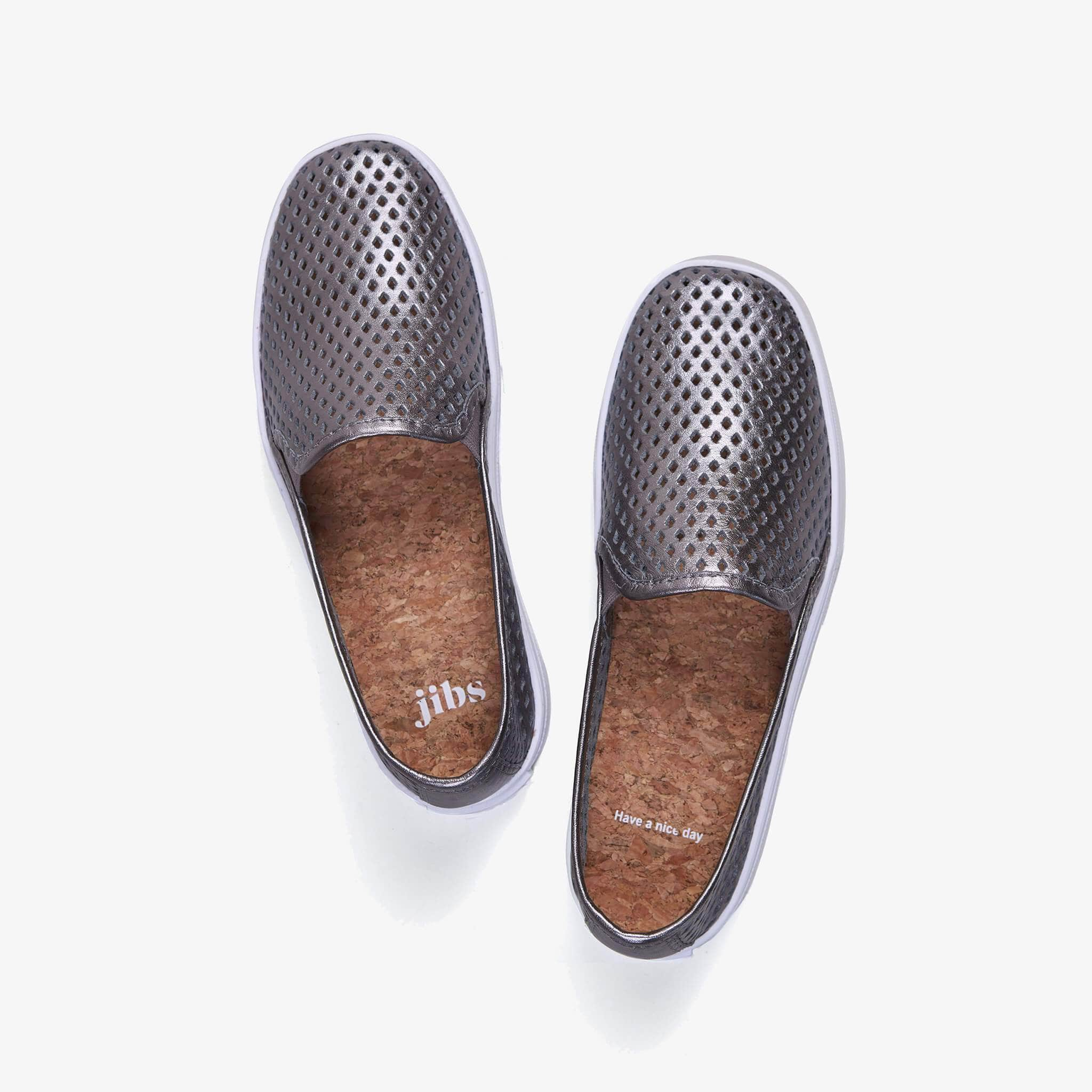 Jibs Classic Space Gray Slip On Sneaker-Shoe Have A Nice Day Cork In-sole
