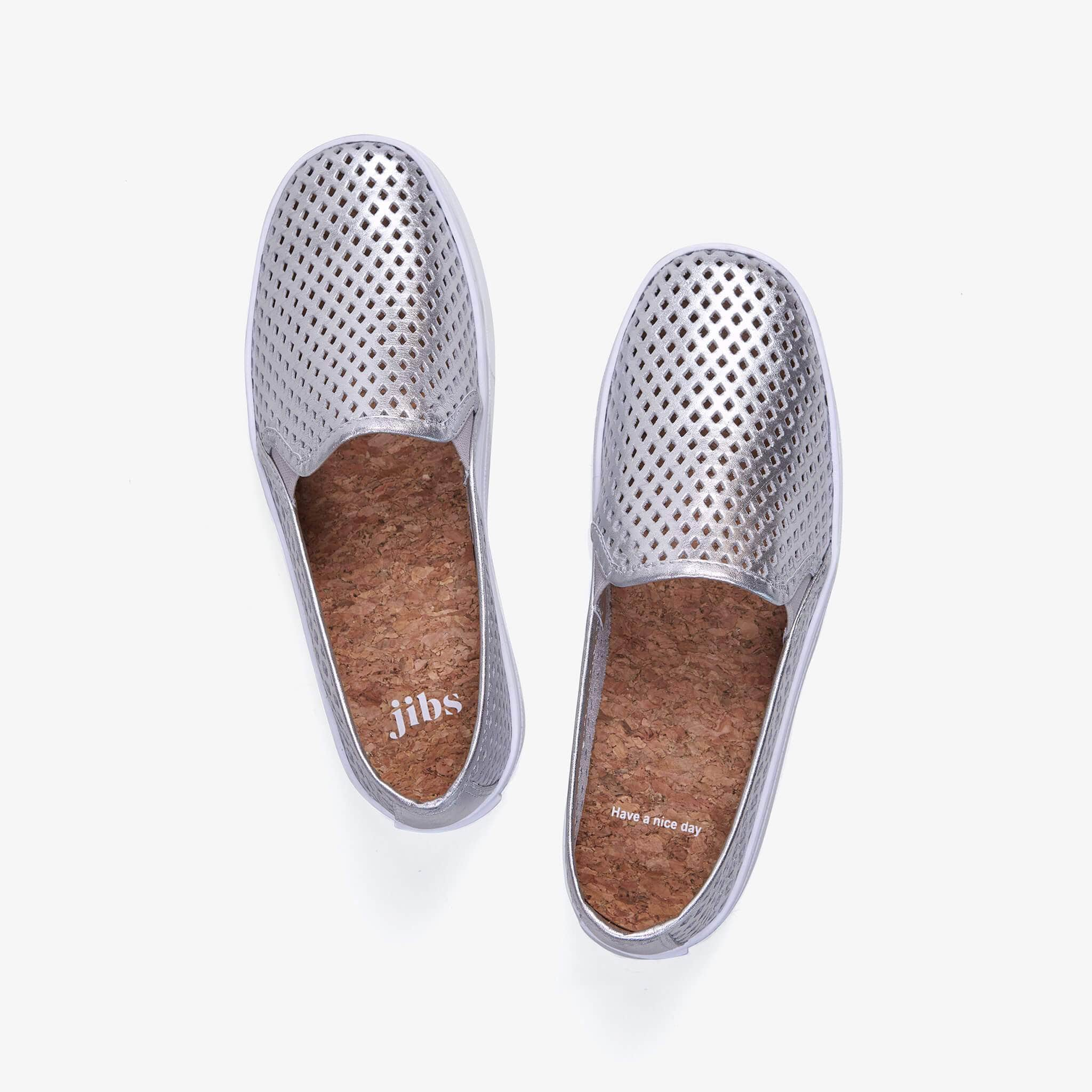 Jibs Classic Silver Slip On Sneaker-Shoe Side
