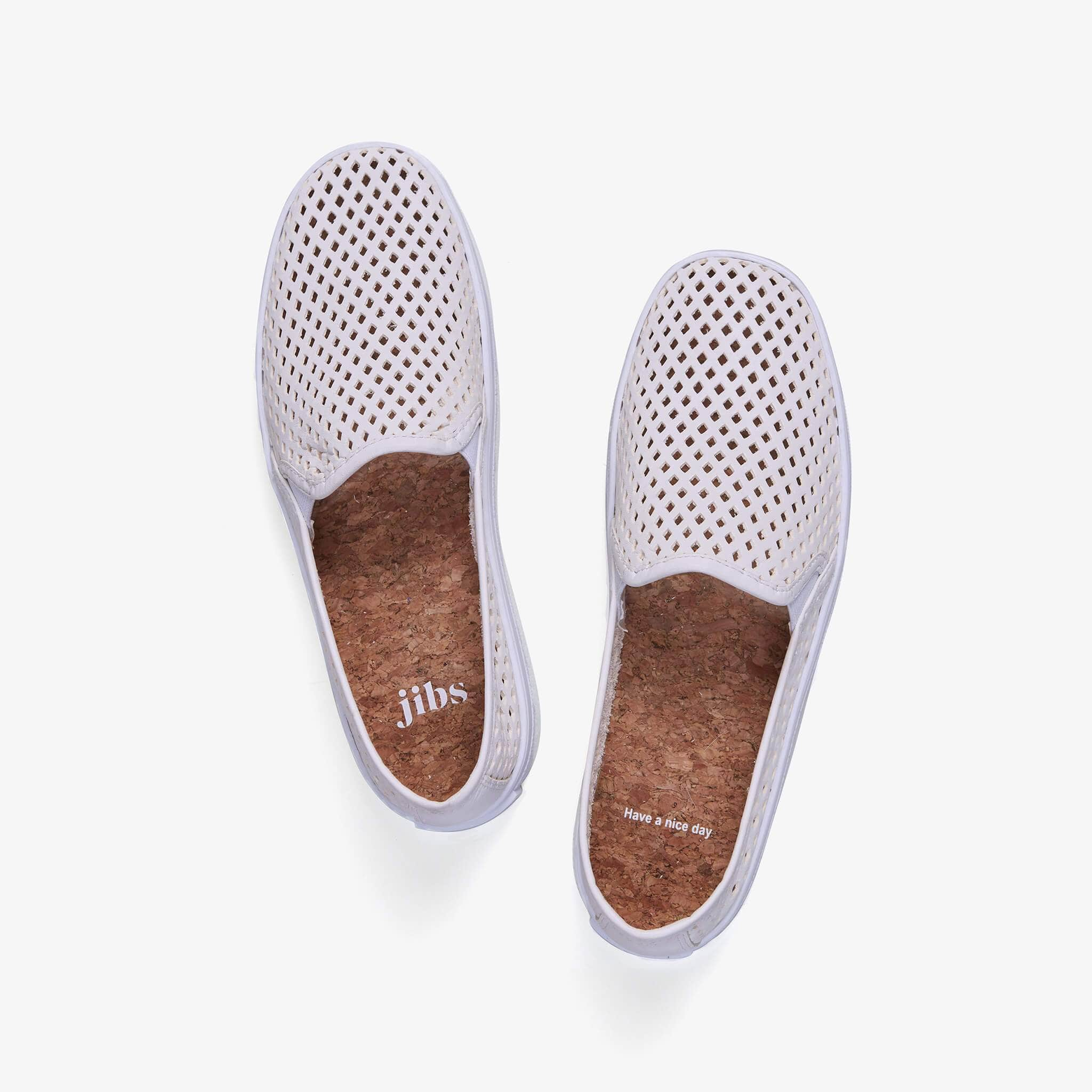 JIbs Classic Soft White Slip On Sneaker-Shoe Top Have A Nice Day