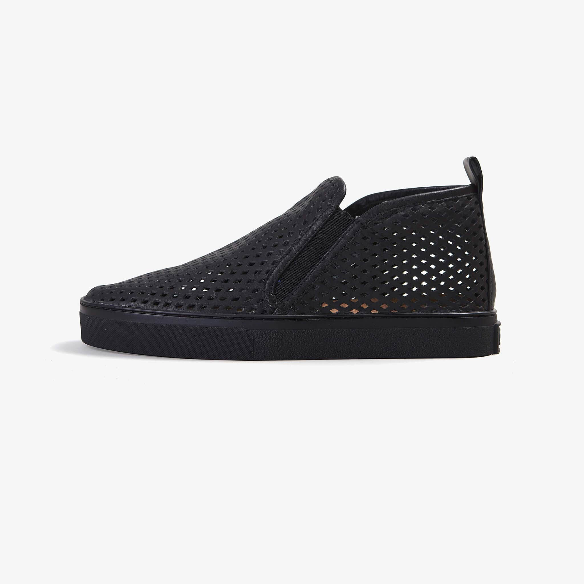 Jibs Mid Rise Jet Black Royale Slip On Sneaker Bootie Side