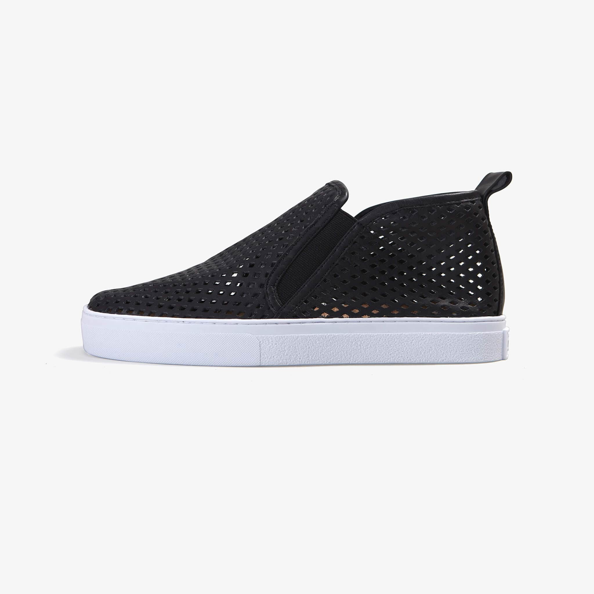 Jibs Mid Rise Jet Black Slip On Sneaker Bootie Side
