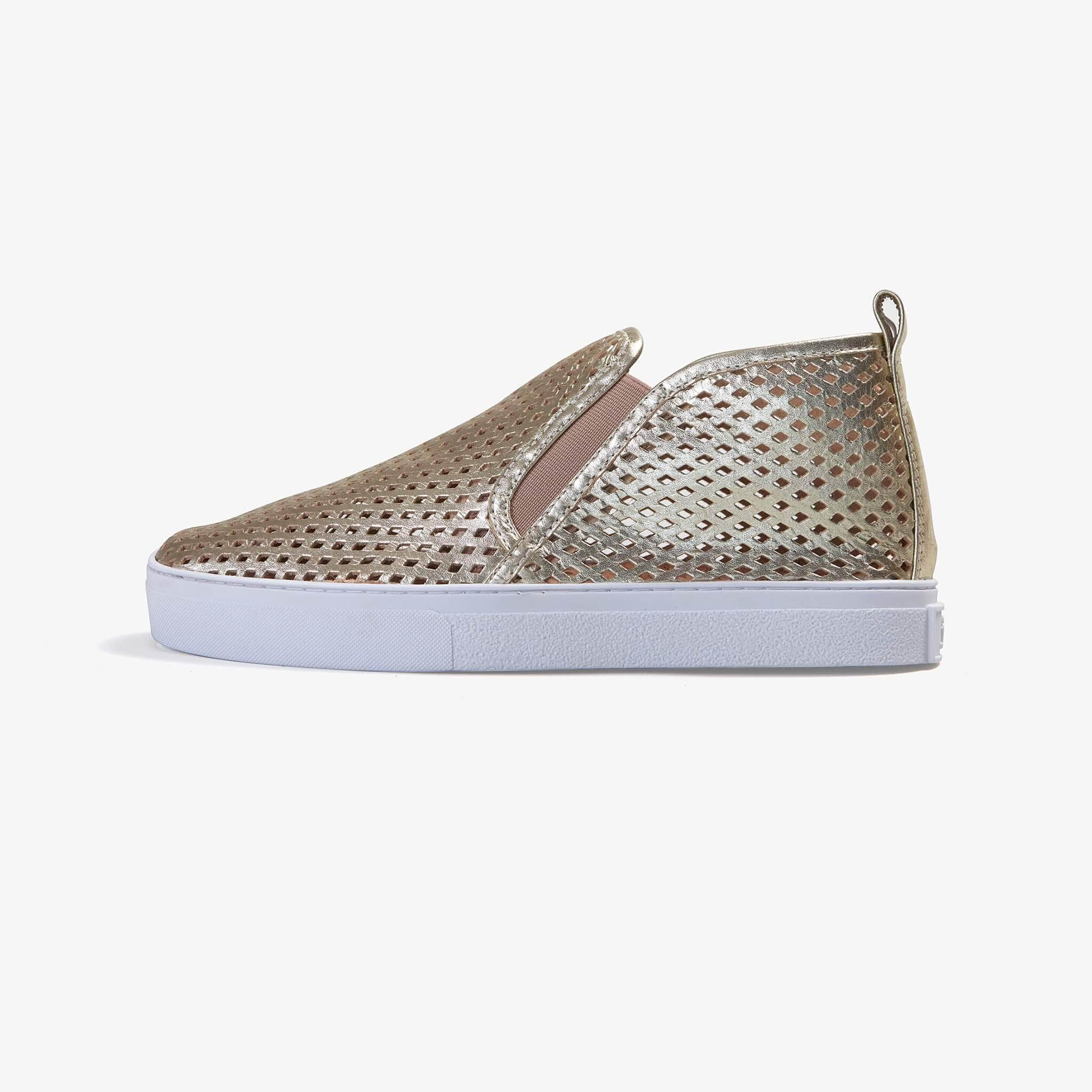 Jibs Mid Rise Gold Slip On Sneaker Bootie Side