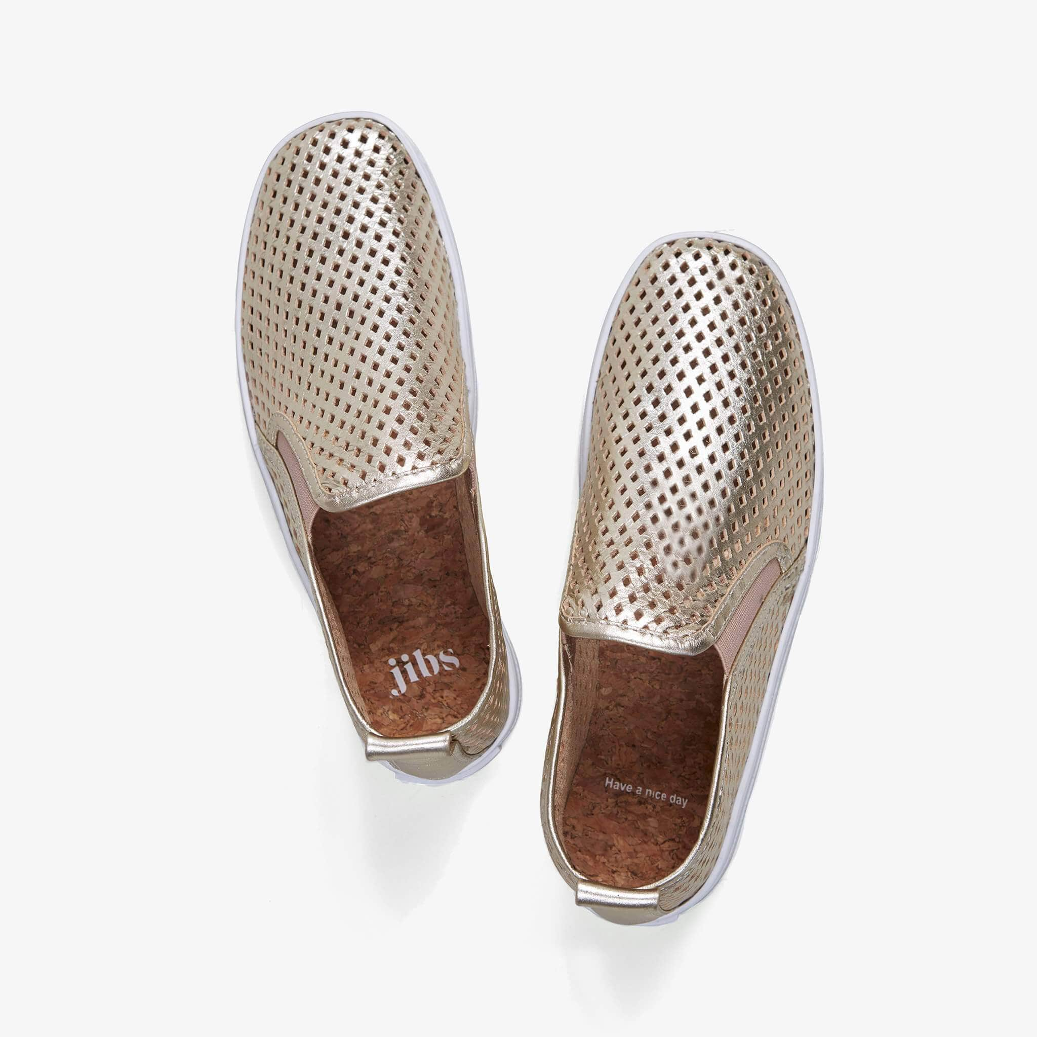 Jibs Mid Rise Gold Slip On Sneaker Bootie Top Have A Nice Day