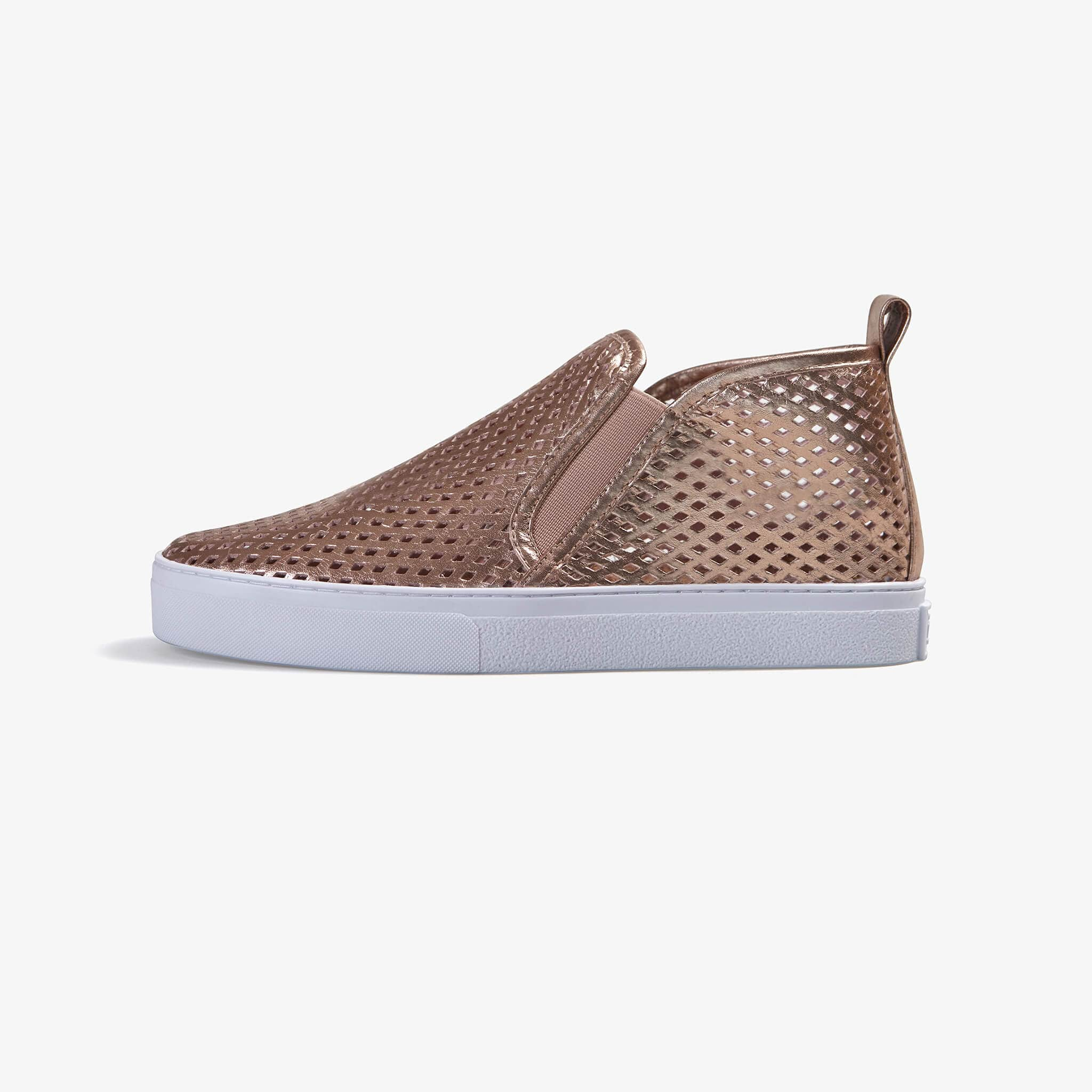 Jibs Mid Rise Rose Gold Slip On Sneaker Bootie Side