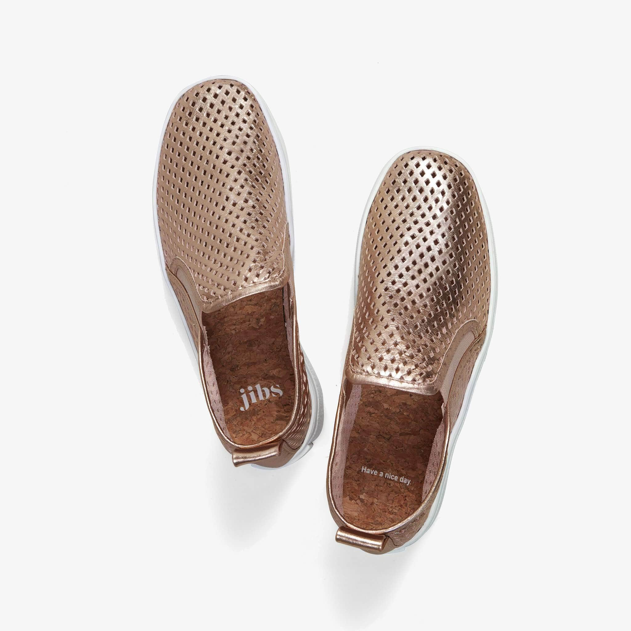Jibs Mid Rise Rose Gold Slip On Sneaker Bootie Top Have A Nice Day
