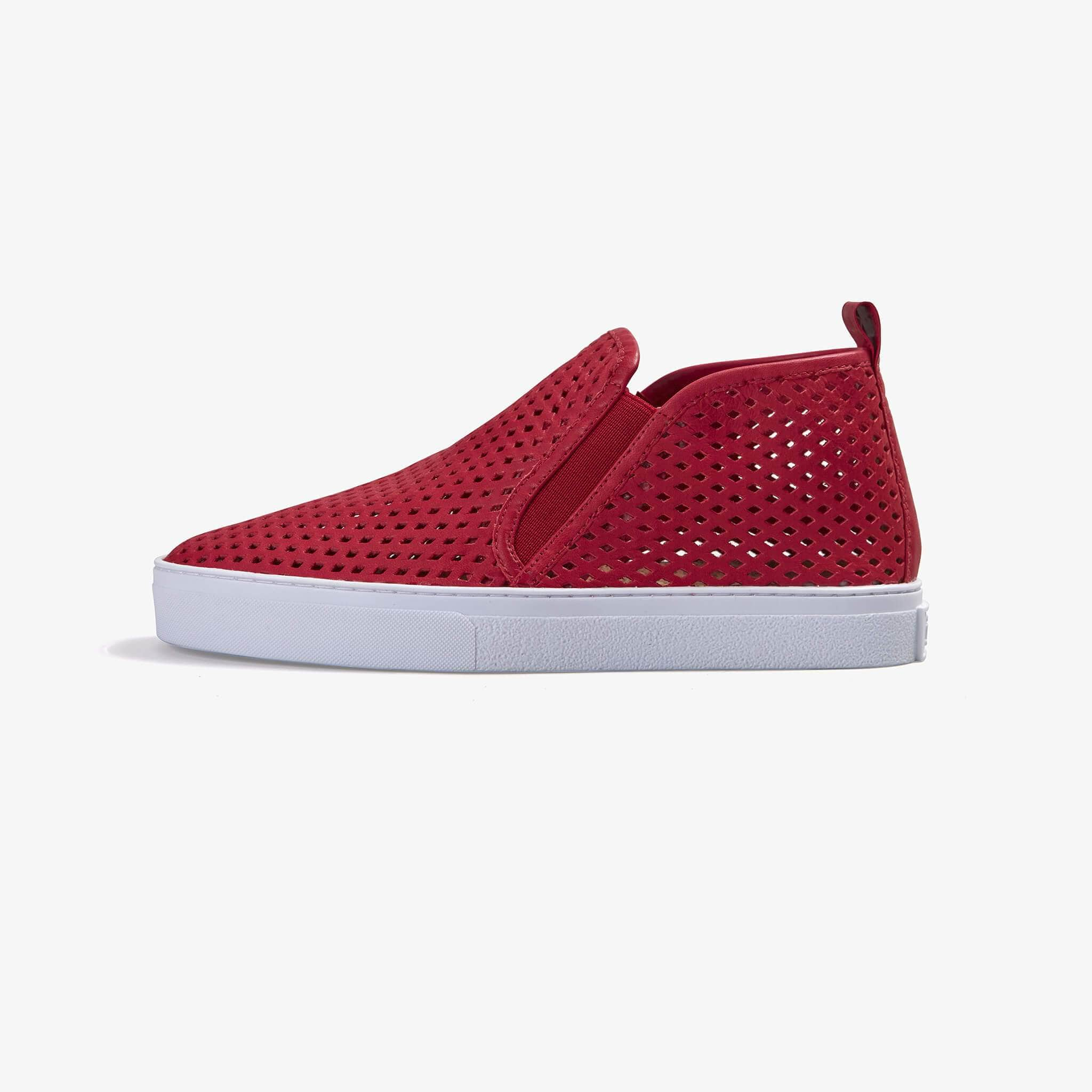 Jibs Mid Rise True Red Slip On Sneaker Bootie Side