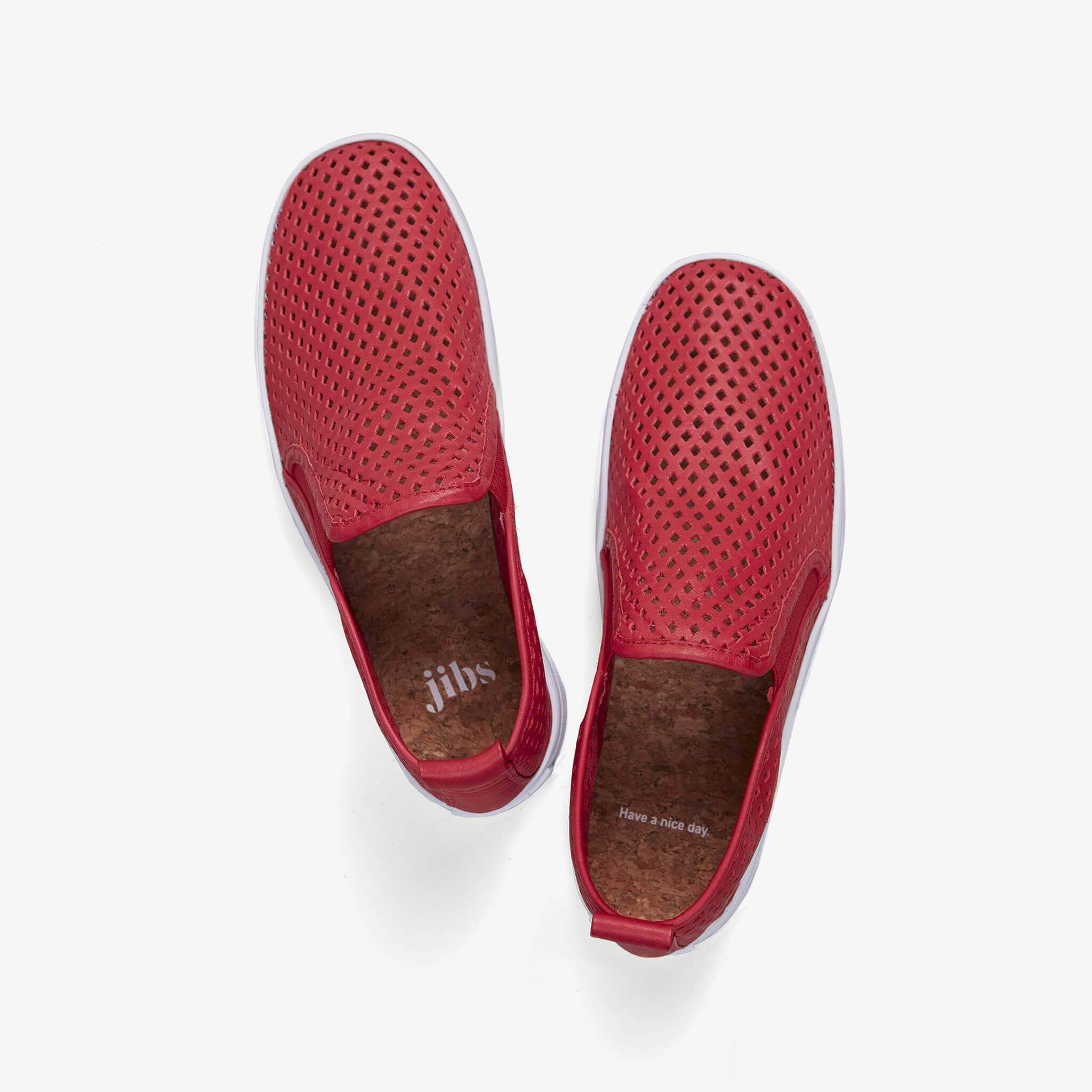 Jibs Mid Rise True Red Slip On Sneaker Bootie Top Have A Nice Day
