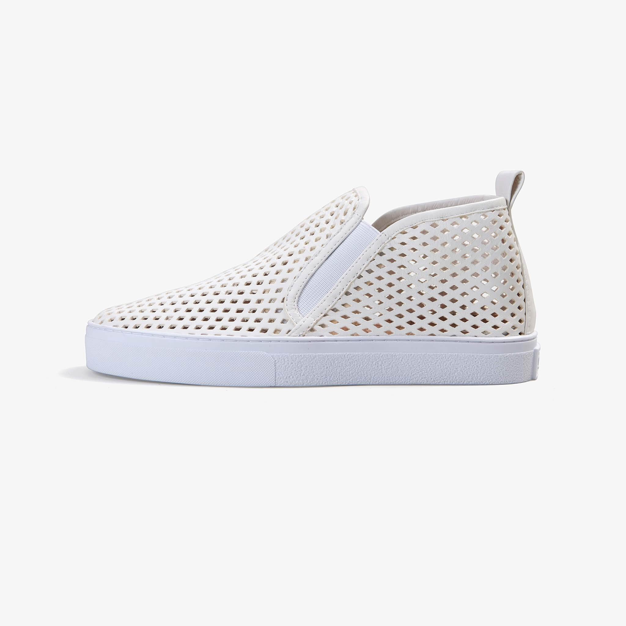 Jibs Mid Rise Soft White Slip On Sneaker Bootie Side
