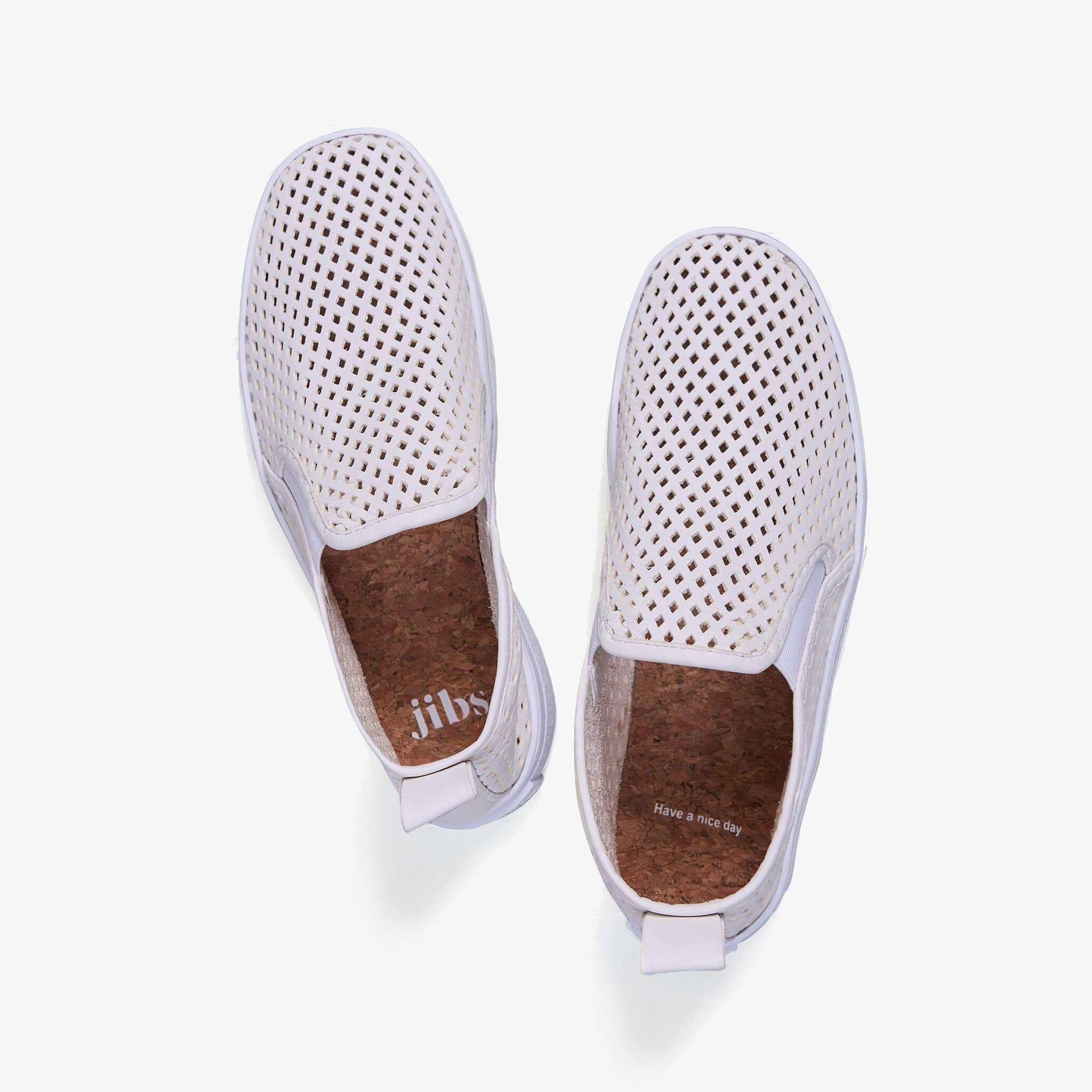 Jibs Mid Rise Soft White Slip On Sneaker Bootie Top Have A Nice Day