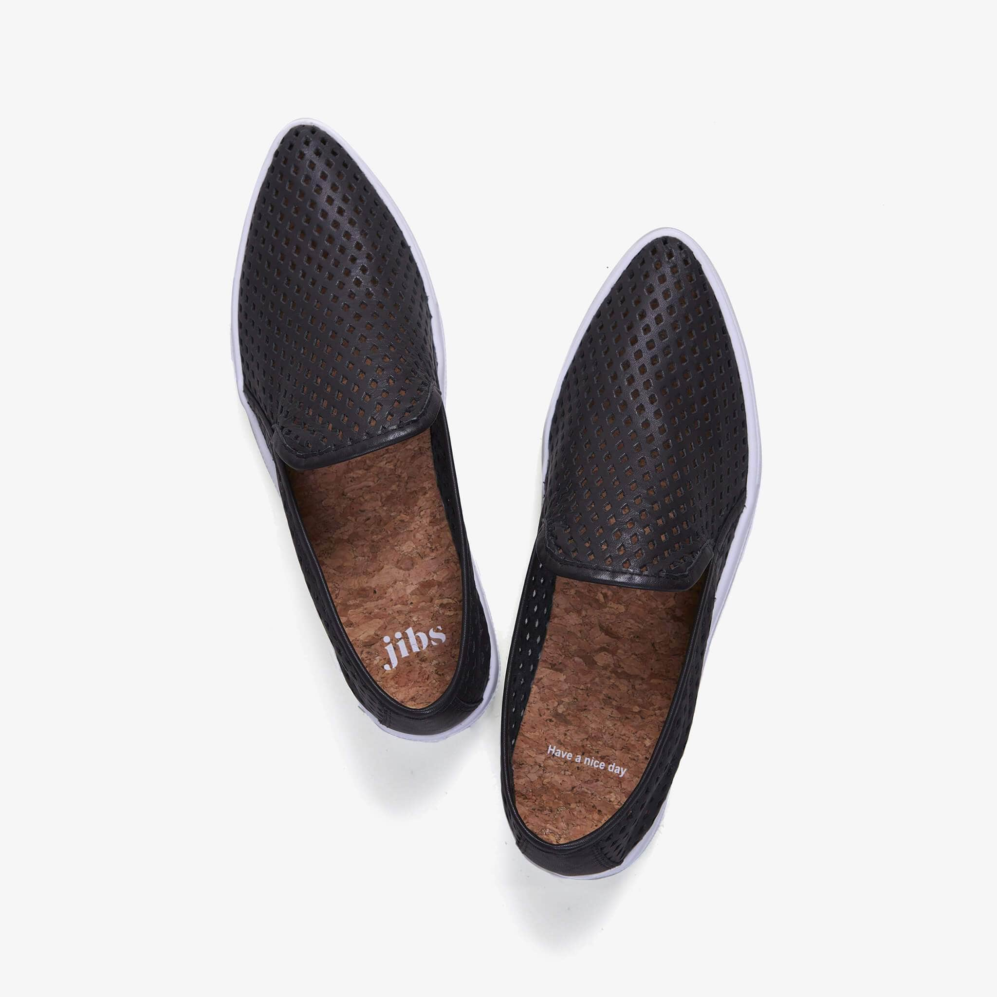 Jibs Slim Jet Black Slip On Sneaker Flat Top Have A Nice Day