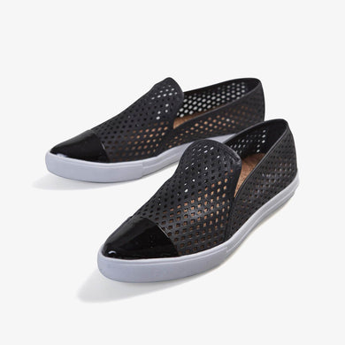 Jibs Slim Jet Black + Onyx Slip On Sneaker Flat Pair