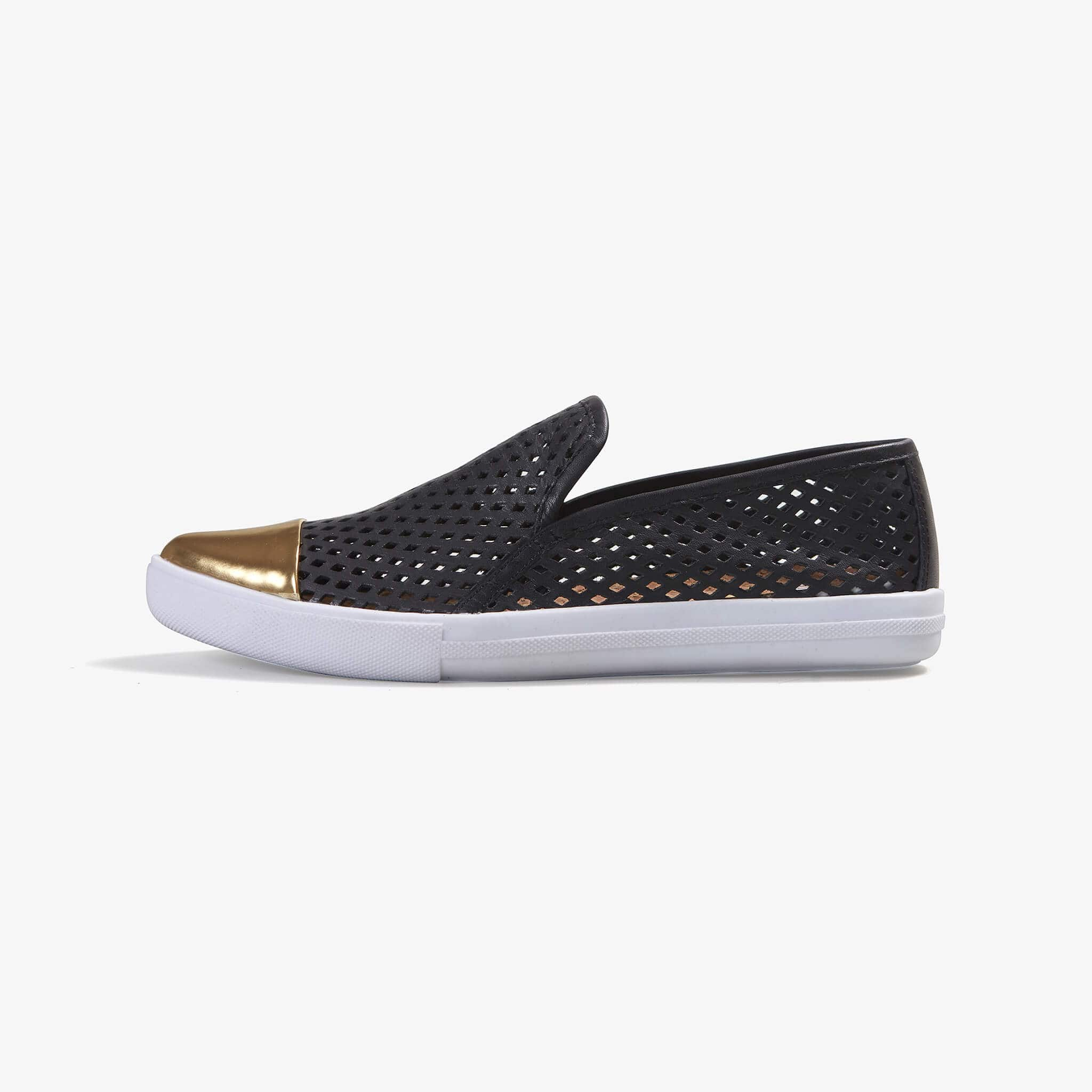 Jibs Slim Jet Black + Gold Slip On Sneaker Flat Shoe Side