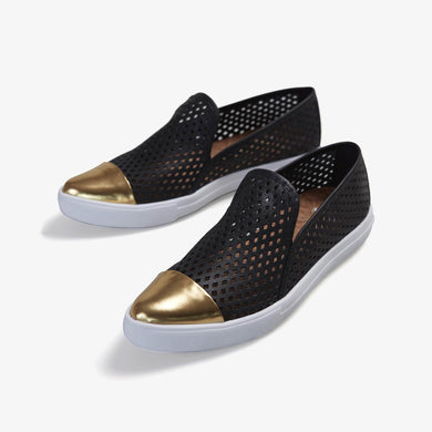 Jibs Slim Jet Black + Gold Slip On Sneaker Flat Pair