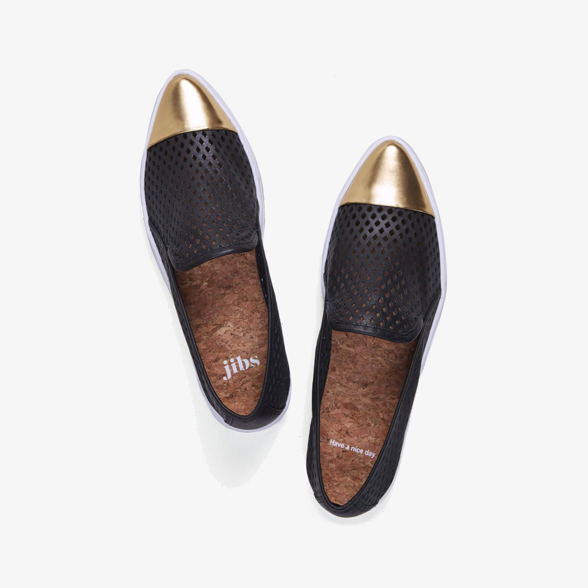 Jibs Slim Jet Black + Gold Slip On Sneaker Flat Top Have A Nice Day