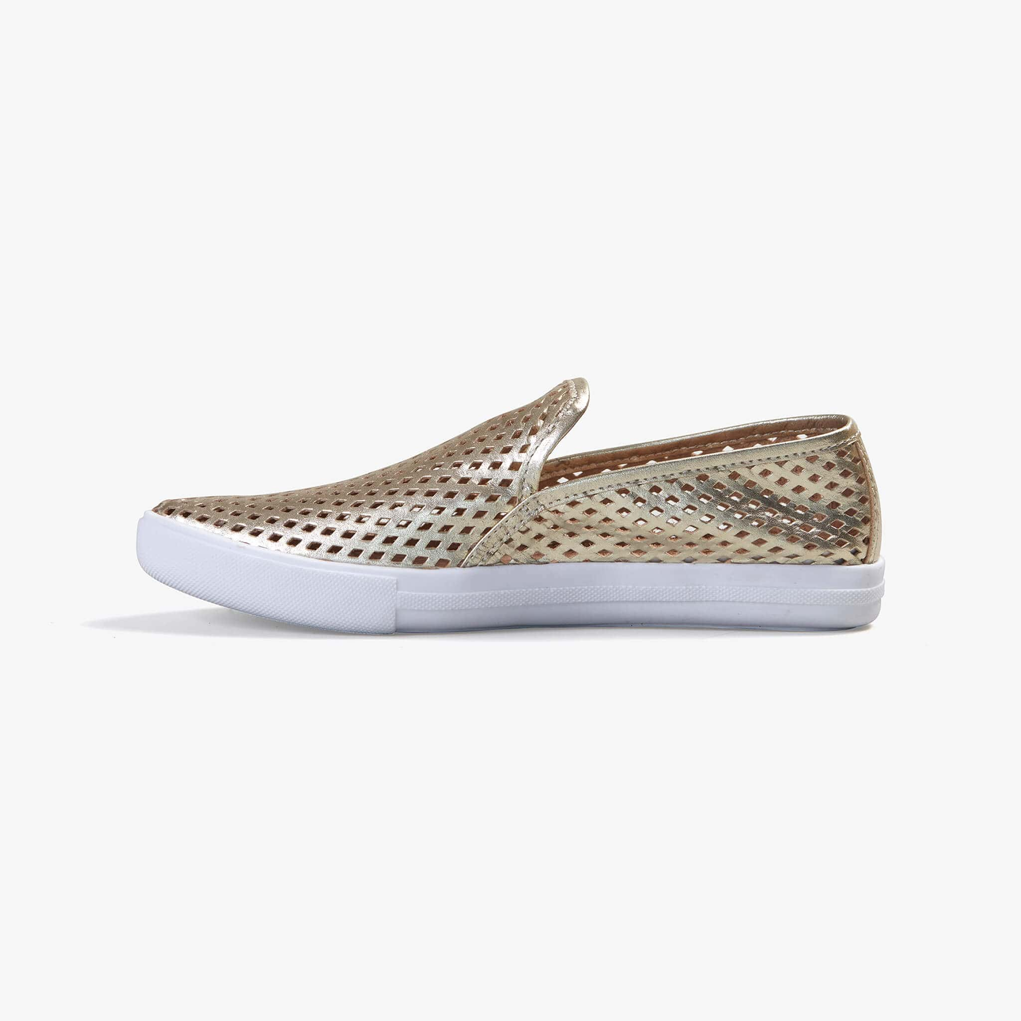 Jibs Slim Gold Slip On Sneaker Flat Shoe Side