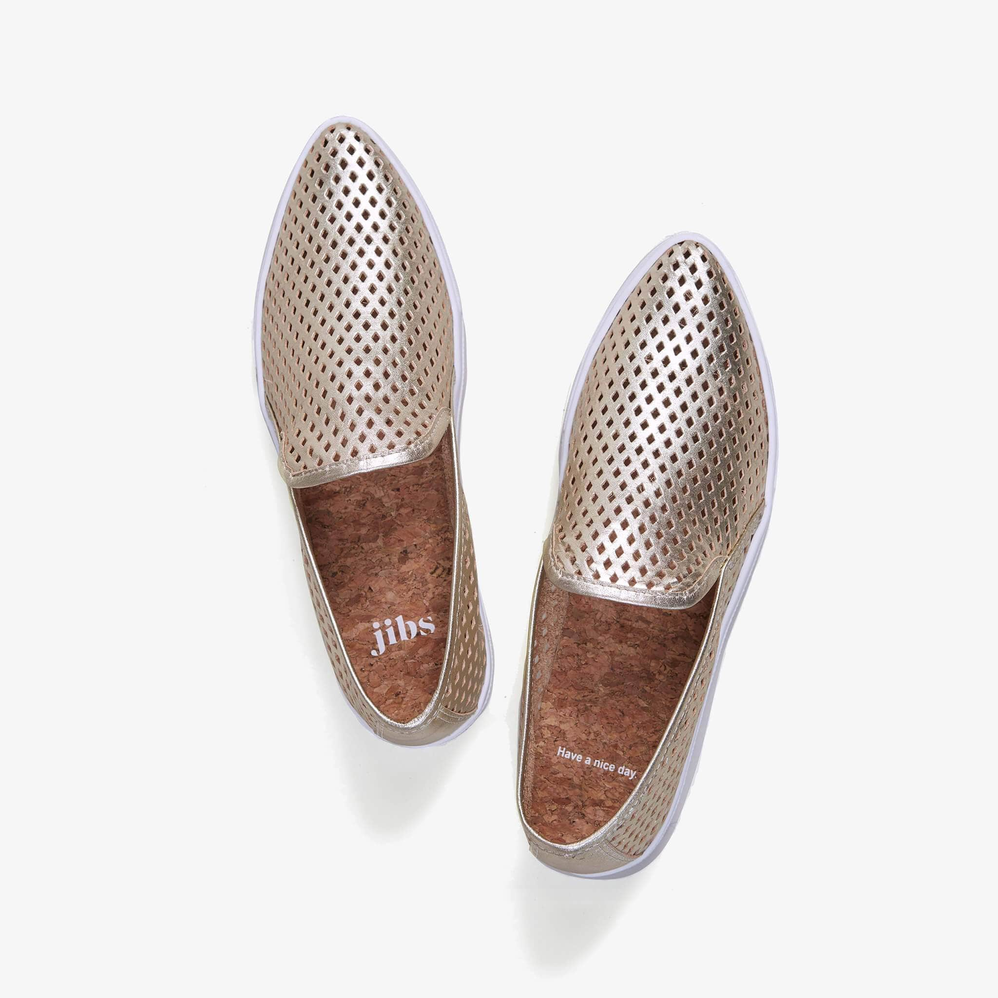 Jibs Slim Gold Slip On Sneaker Flat Top Have A Nice Day