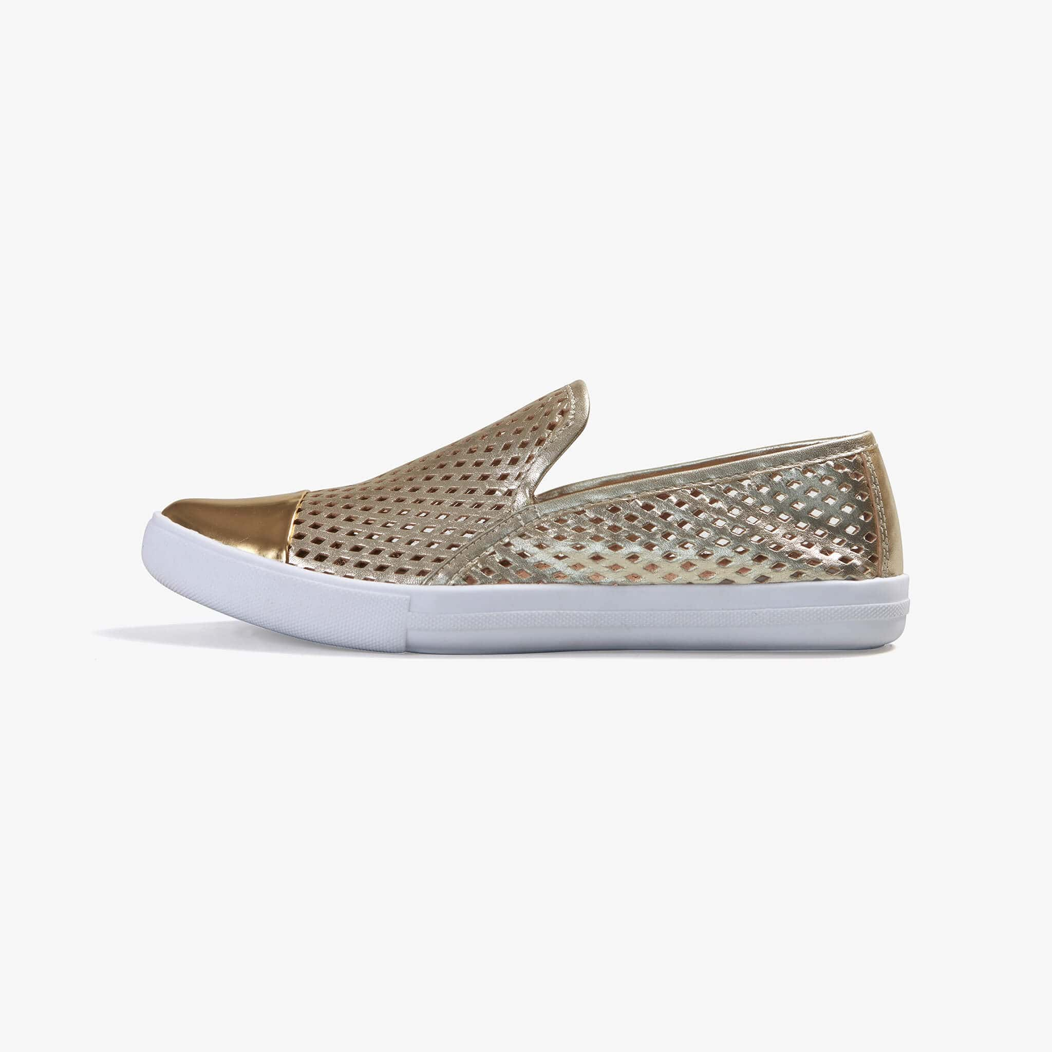 Jibs Slim Gold + Gold Slip On Sneaker Flat Shoe Side