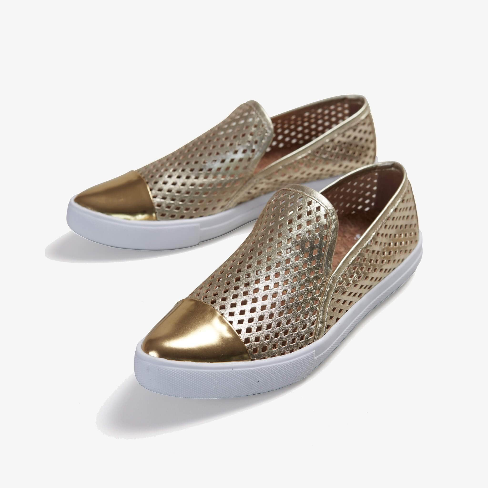 Jibs Slim Gold + Gold Slip On Sneaker Flat Pair