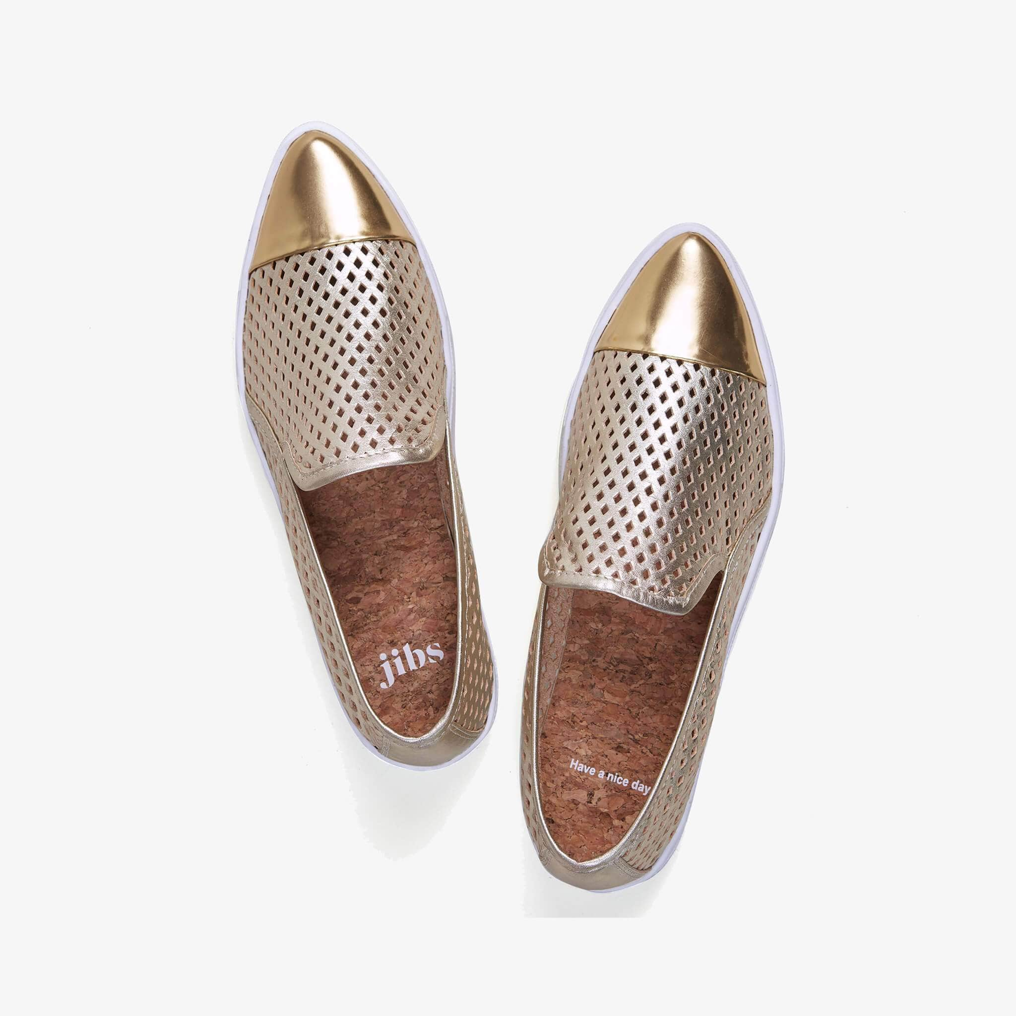 Jibs Slim Gold + Gold Slip On Sneaker Flat Top Have A Nice Day