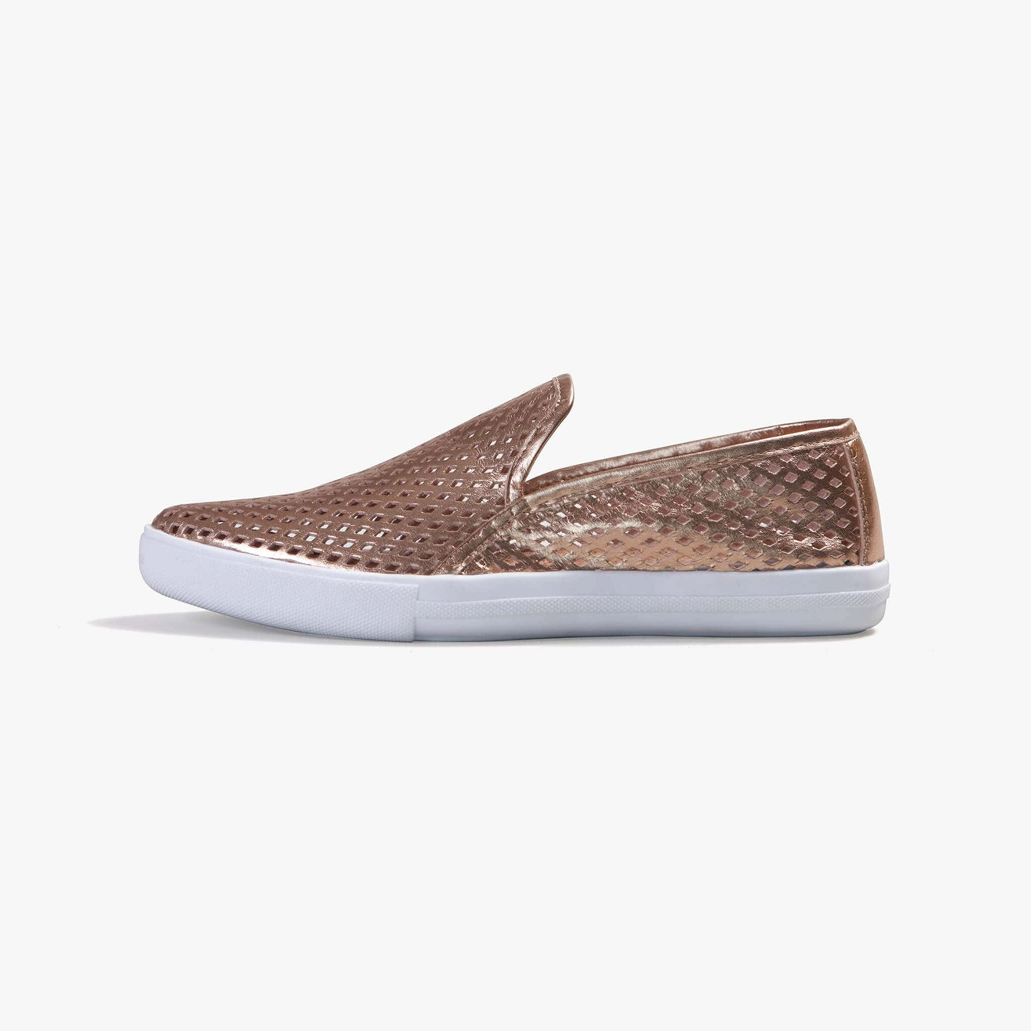 Jibs Slim Rose Gold Slip On Sneaker Flat Shoe Side