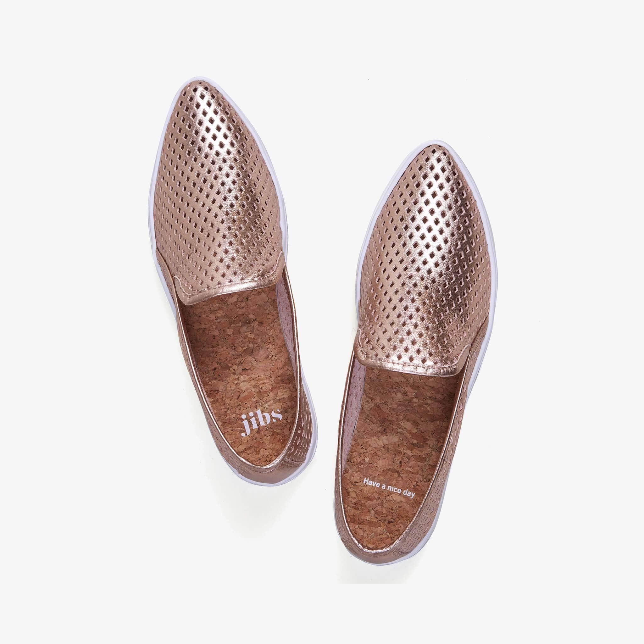 Jibs Slim Rose Gold Slip On Sneaker Flat Top Have A Nice Day