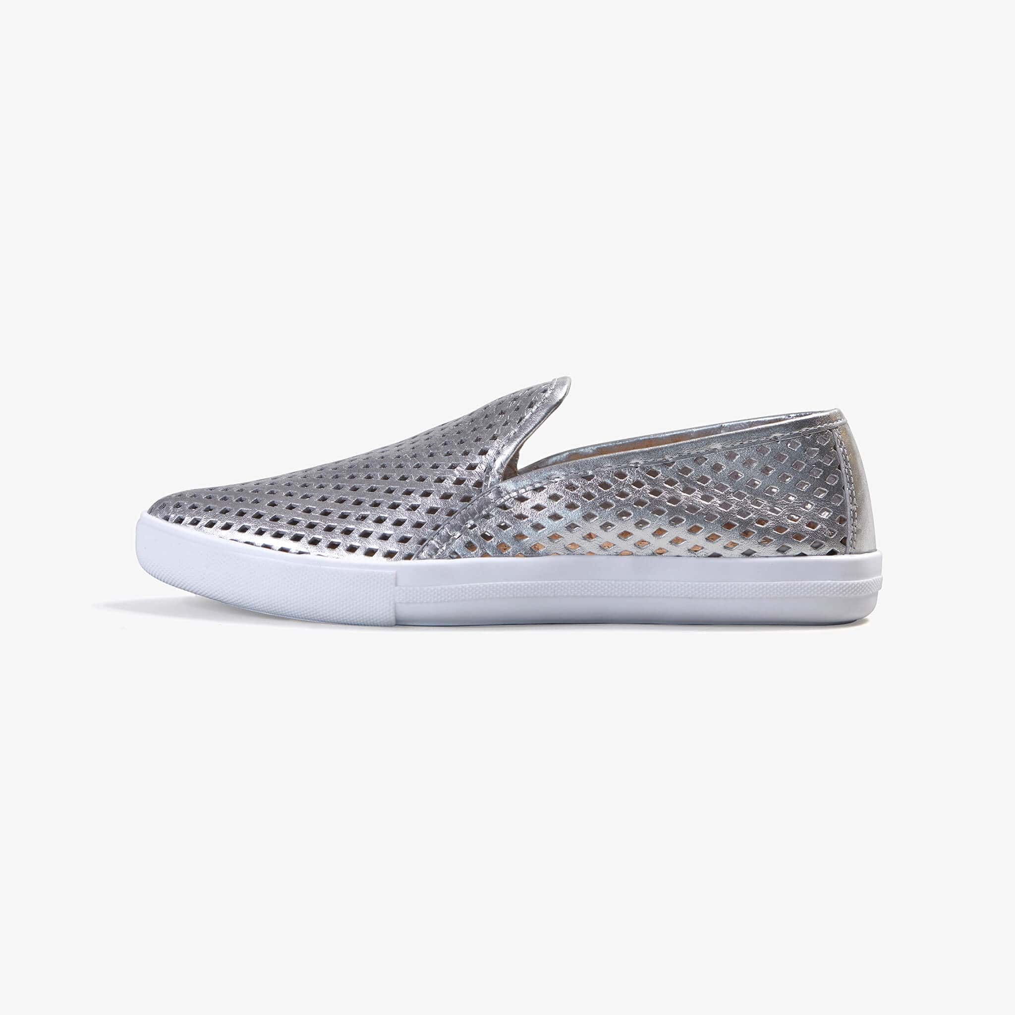 Jibs Slim Silver Slip On Sneaker Flat Shoe Side