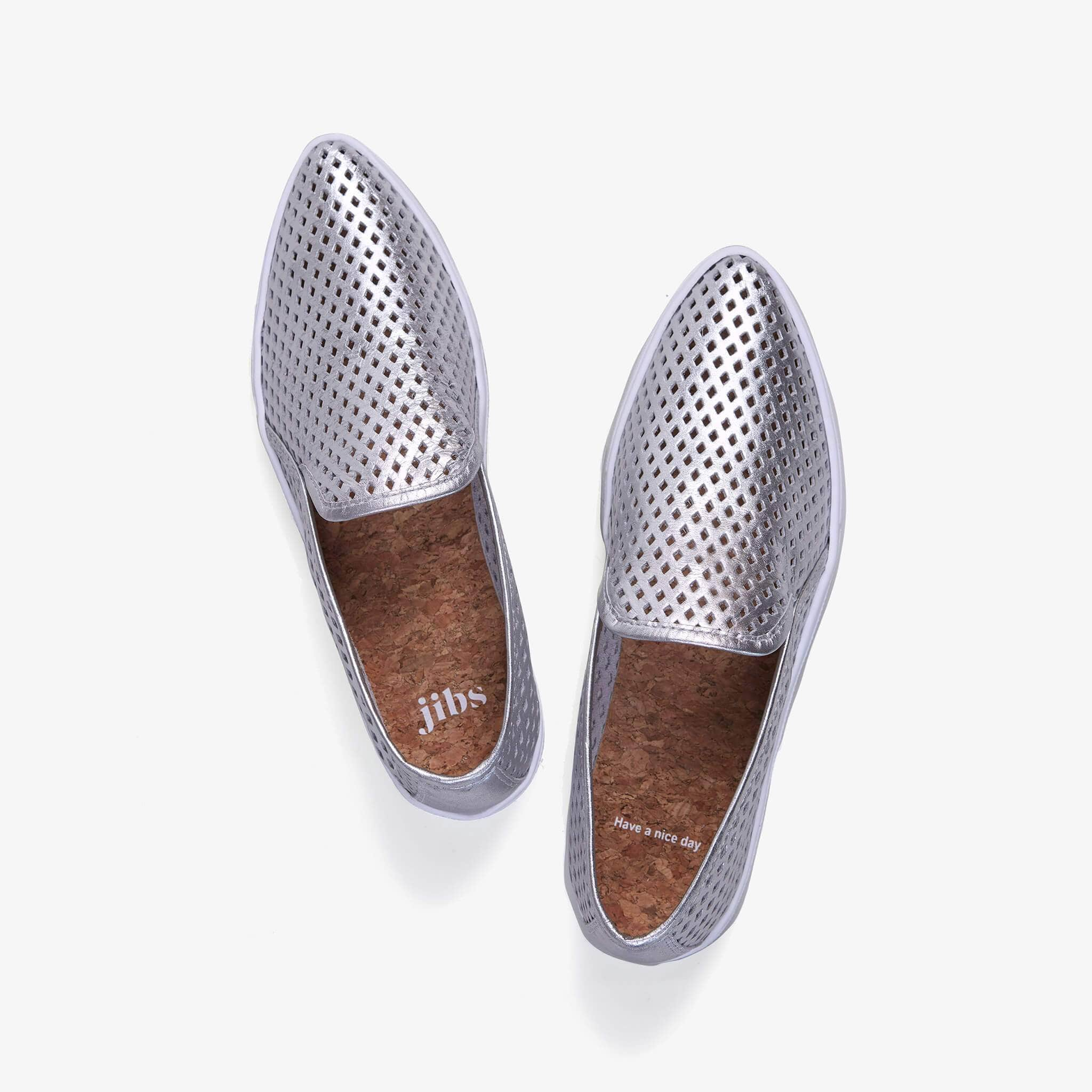 Jibs Slim Silver Slip On Sneaker Flat Top Have A Nice Day