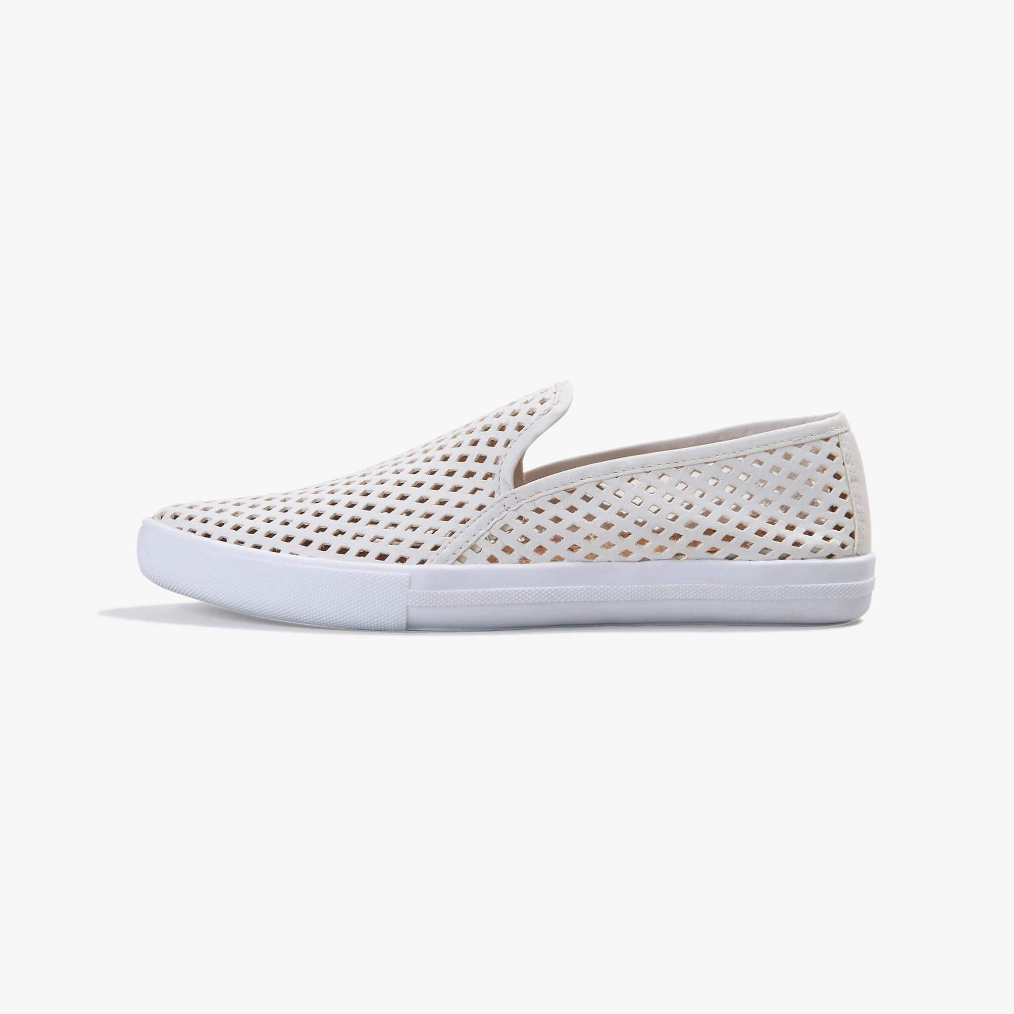 JIbs Slim Soft White Slip On Sneaker Flat Shoe Side