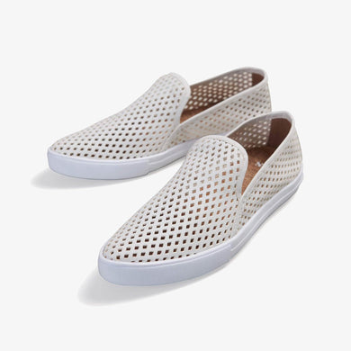 JIbs Slim Soft White Slip On Sneaker Flat Pair