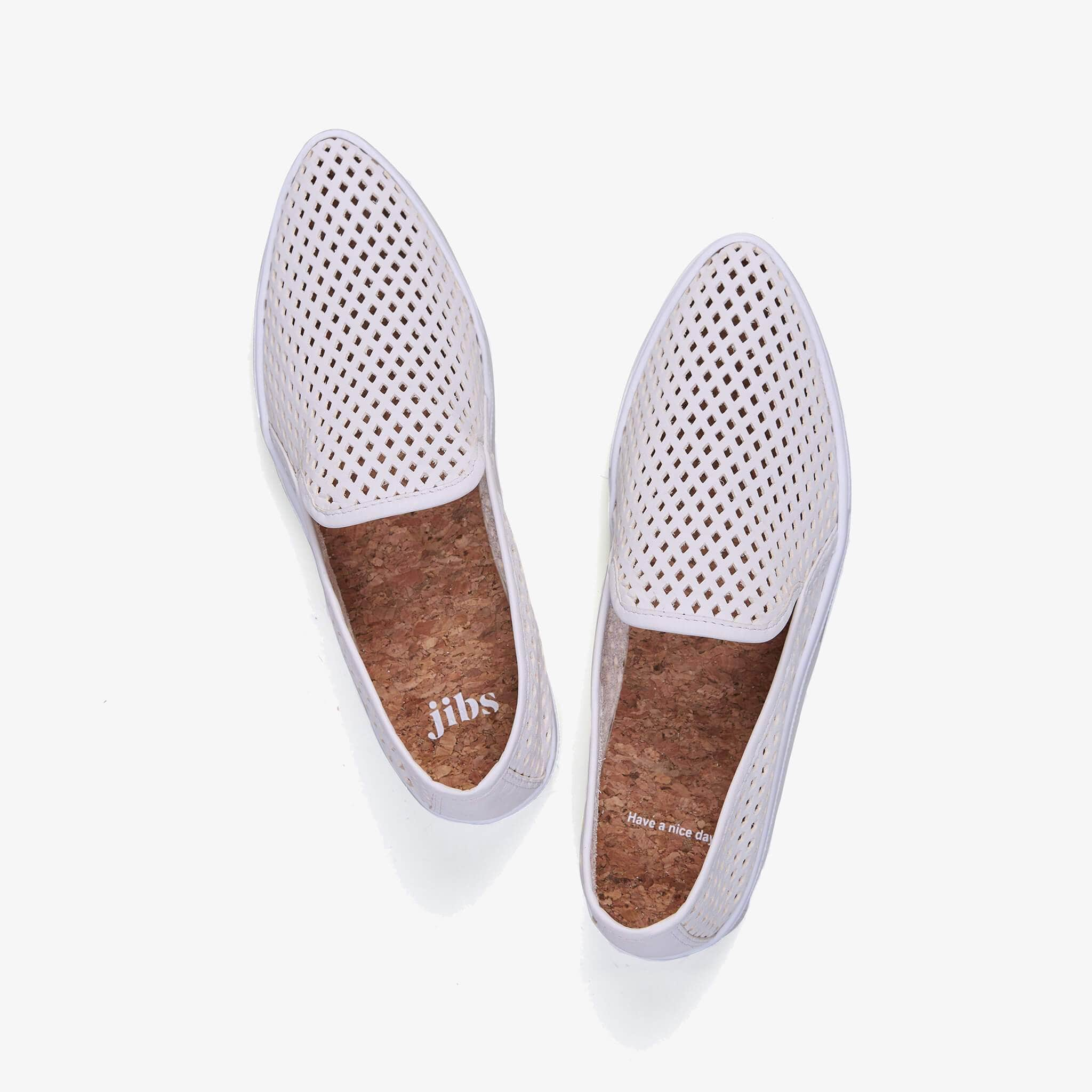 JIbs Slim Soft White Slip On Sneaker Flat Top Have A Nice Day