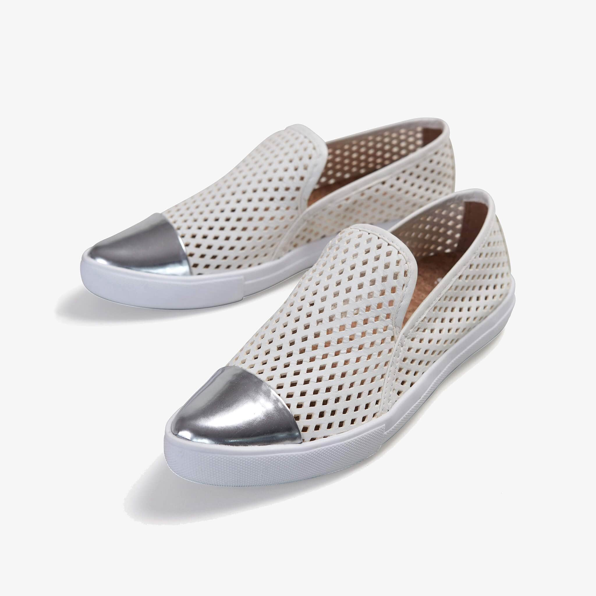 Jibs Slim White + Silver Slip On Sneaker Flat Pair
